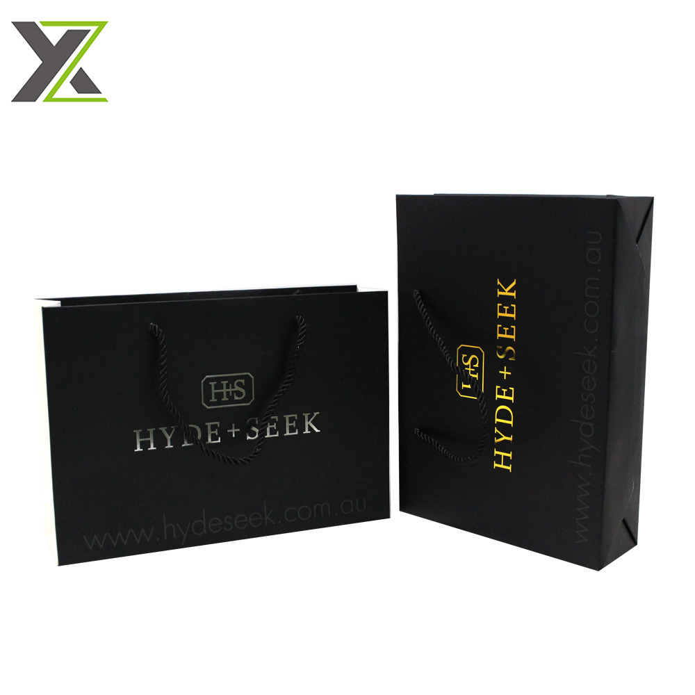 Custom OEM brand shoes gold foil logo black gift shopping paper bags