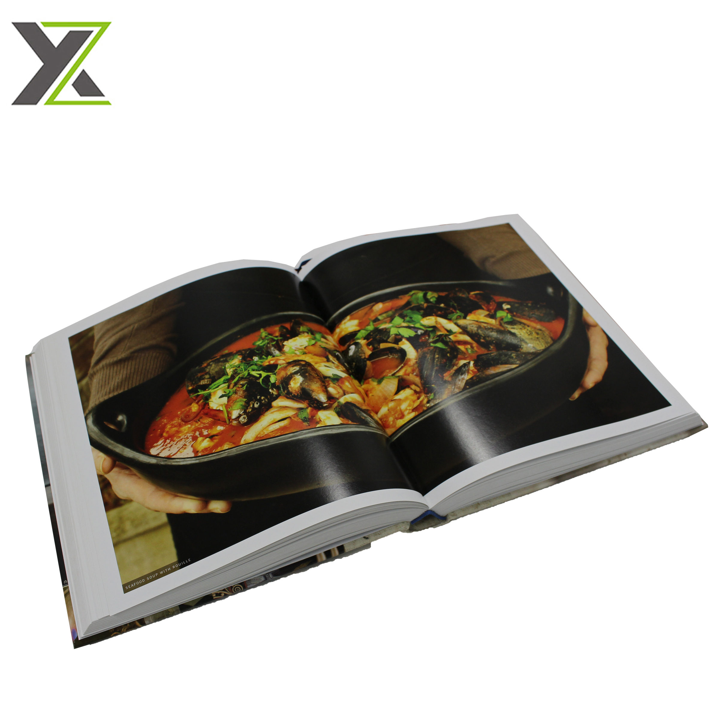 Custom silver foil case bound thick books hardcover gourmet magazine